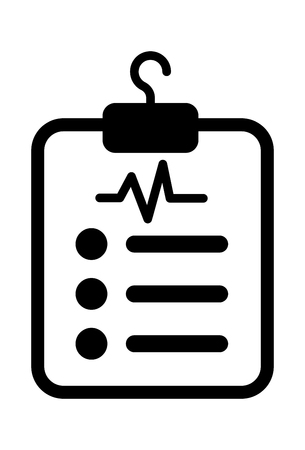 This vector image shows a report sheet in glyph icon design. It is isolated on a white background.