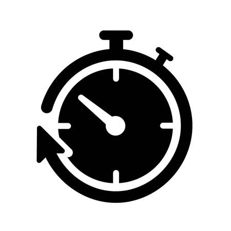 This vector image shows a timer icon in glyph style. It is isolated on a white background.