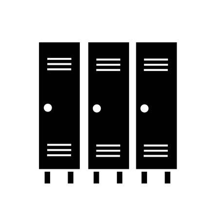 This vector image shows a locker icon in glyph style. It is isolated on a white background.