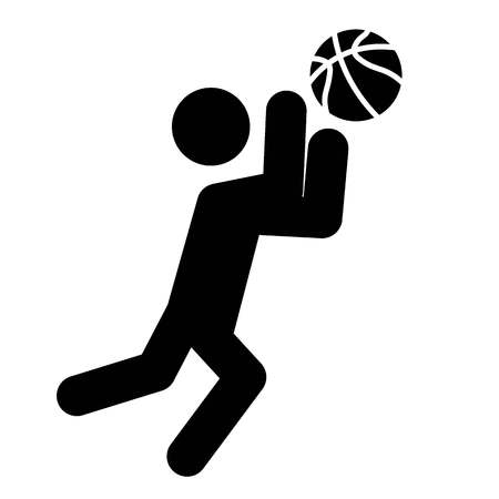 This vector image shows a catch the ball icon in glyph style. It is isolated on a white background. Ilustração