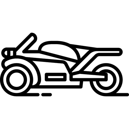 This vector image shows a motorcycle icon in glyph style. It is isolated on a white background.