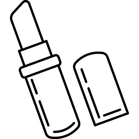Questa immagine vettoriale mostra un'icona di rossetto in stile contorno. È isolato su uno sfondo bianco. Vettoriali
