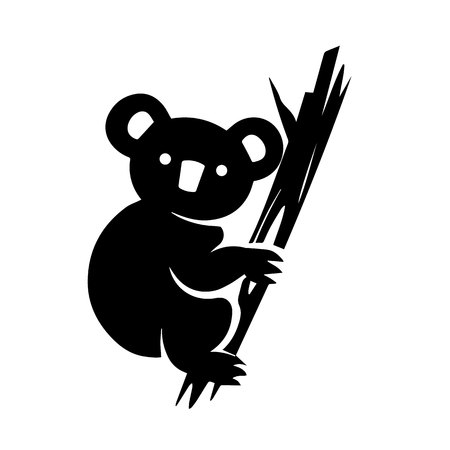 This vector image shows a koala icon in glyph style. It is isolated on a white background.  イラスト・ベクター素材