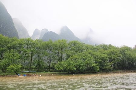 The misty Lijiang River in Guilin
