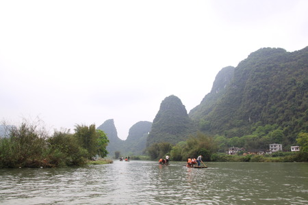 Bamboo raft at Guilin Lijiangwan Stock Photo