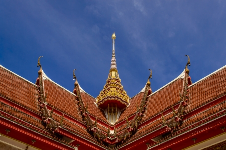 Roofing Buddhist monastery on the sky background  Wat Chalong photo