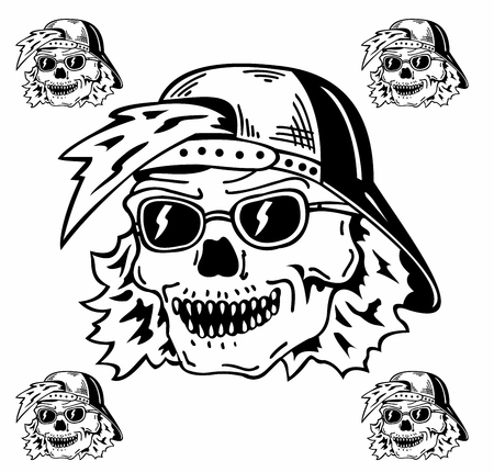Skull in the hat and sunglasses vector illustration.