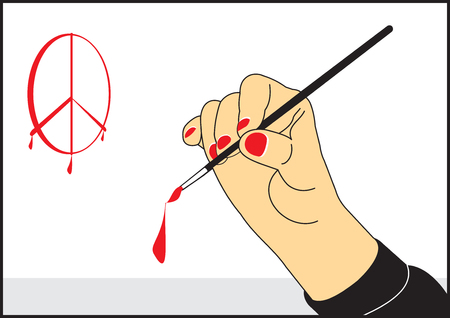 The artist's hand with a brush draws vector illustration. Illustration