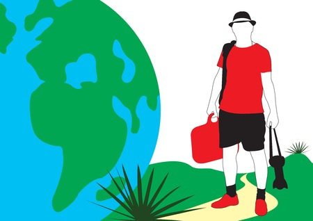 Traveler. A guy in a hat with a suitcase and a camera walking on the planet. Ilustrace