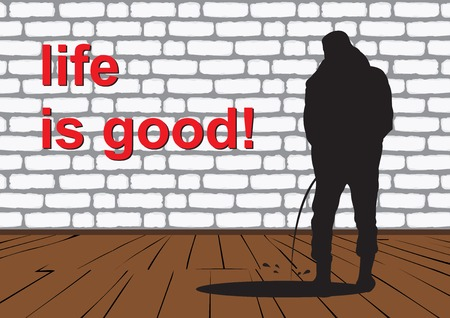 pissing guy. Black and white silhouette of a guy peeing against a brick wall with the words life is good. Vector illustration.