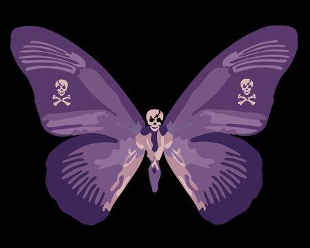 purple skull butterfly art
