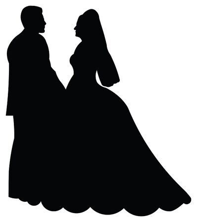 vows: Silhouette illustration of a bride and groom Stock Photo
