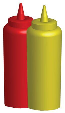 3d render of ketchup and mustard bottles Zdjęcie Seryjne
