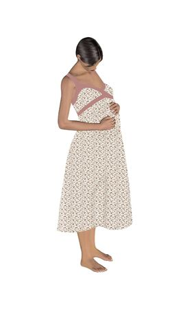 pregnant woman mixed media render and illustration