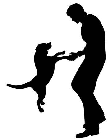 man met hond silhouet illustratie Stockfoto