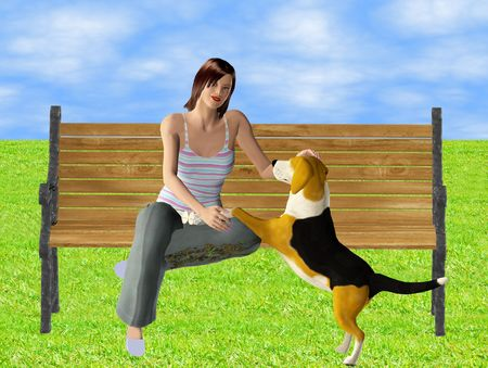 mixed media render and illustration of a woman and her dog at the park. Zdjęcie Seryjne