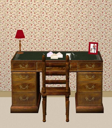 mixed media 3d render and illustration of a desk setting.