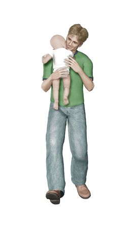 mixed media render and illustration of a dad walking with his child