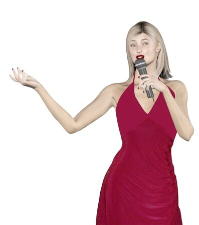 mixed media 3d render and illustration of a woman singing. Zdjęcie Seryjne