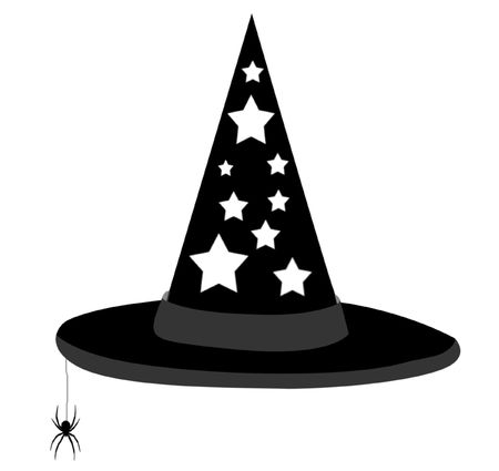 illustration of a witchs hat with dangling spider