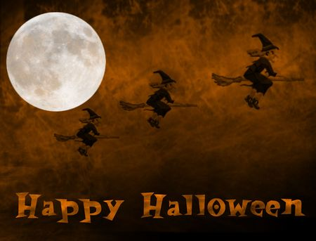 witches riding against an orange smoke filled background