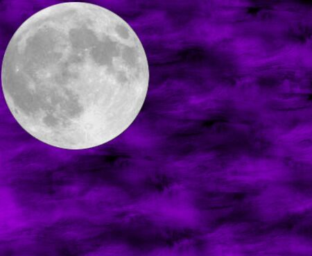full moon against a purple sky background Stock Photo