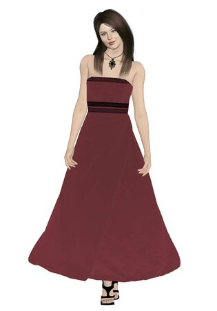 beautiful brunette woman in a red evening gown Zdjęcie Seryjne