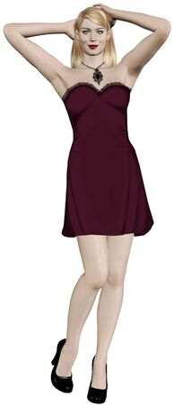 velvet dress: Blonde woman in beautiful redburgundy dress with lace.