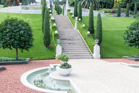 bahai: Bahai Garden, View of Haifa , Mediterranean Sea, Israel, Middle East
