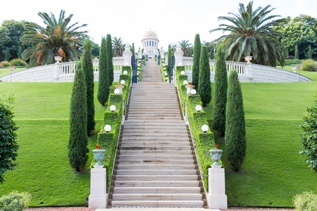 baha: Bahai Garden, View of Haifa , Mediterranean Sea, Israel, Middle East