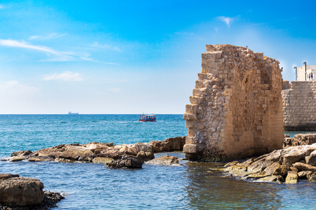 Acre, Remains of ancient harbor in Israel Stock Photo