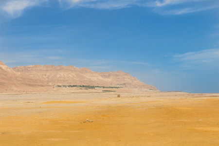 Oasis landscape with the Mountains and the desert in Israel Stock Photo