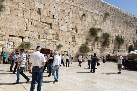 jewish town: Close up on Western Wall also called Wailing Wall in Jerusalem, Israel