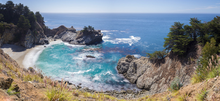 The famous McWay waterfall next to highway 1 between San Francisco and Los Angeles. Stock Photo