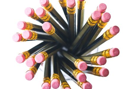 Pencils splayed in a pot photo