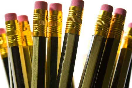 splayed: Pencils splayed in a pot