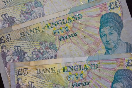reverse: The reverse side of British Five Pound Note