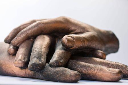 bronzed: Three bronzed hand sculpture