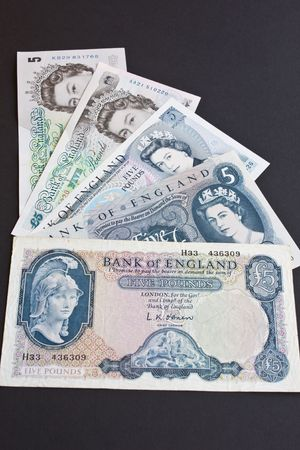 gb pound: The last five versions of the British five pound note