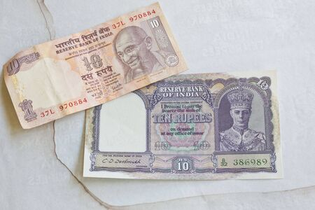 rupees: Old and new Indian Ten rupee notes