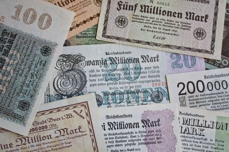 reparations: Banknotes from the high inflation period in 1920s Germany