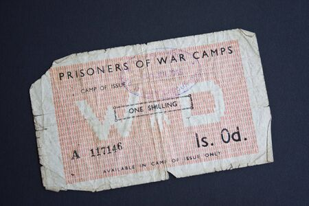 world war two: A one shilling note issued to Italian prisoners of war in British camps in World War Two Stock Photo