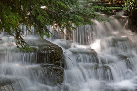 Motion blur of water falls in a park photo