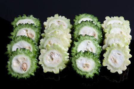 fruit and veg: Slices of Karela, also known as the bitter gourd or bitter melon