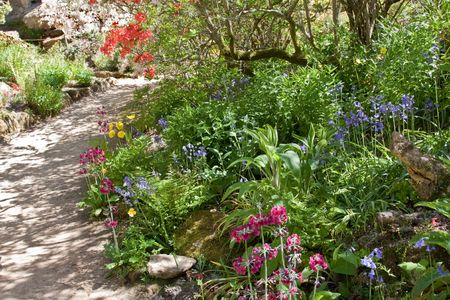 typically english: A typically English country garden in spring Stock Photo