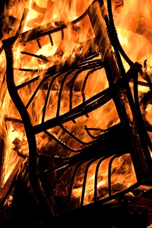 Furniture burning on a bonfire on Guy Fawkes Night photo