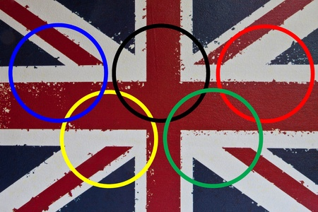 olympic symbol: The Olympic rings on a background of the Union Jack depicting the London Olympic Games 2012 Editorial