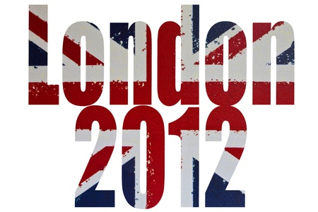 The words London 2012 on a background of the flag of the United Kingdom