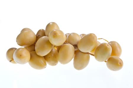 dattes: Un cluster de dattes fra�ches sur une tige isol�e sur un fond blanc