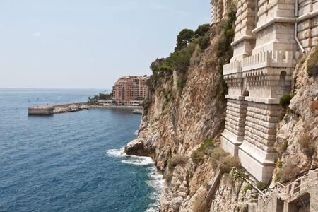 ville: Ramparts of Monaco looking towards the Fontvieille harbour in Monaco Ville Stock Photo